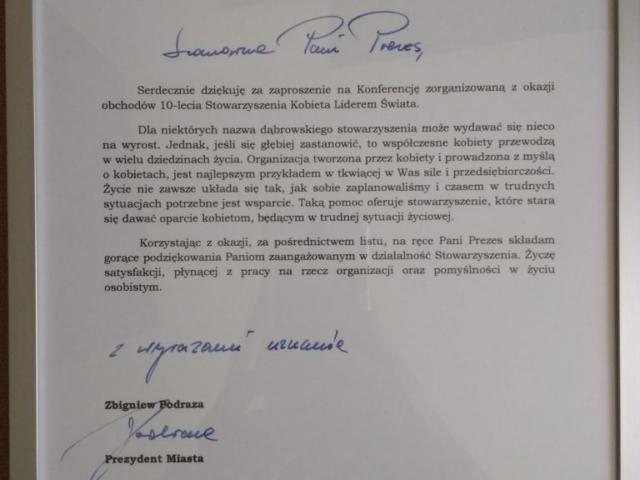 podziękowanie, uznanie, jubileusz, 10 lat, rocznica, Prezydent Miasta Dąbrowa Górnicza