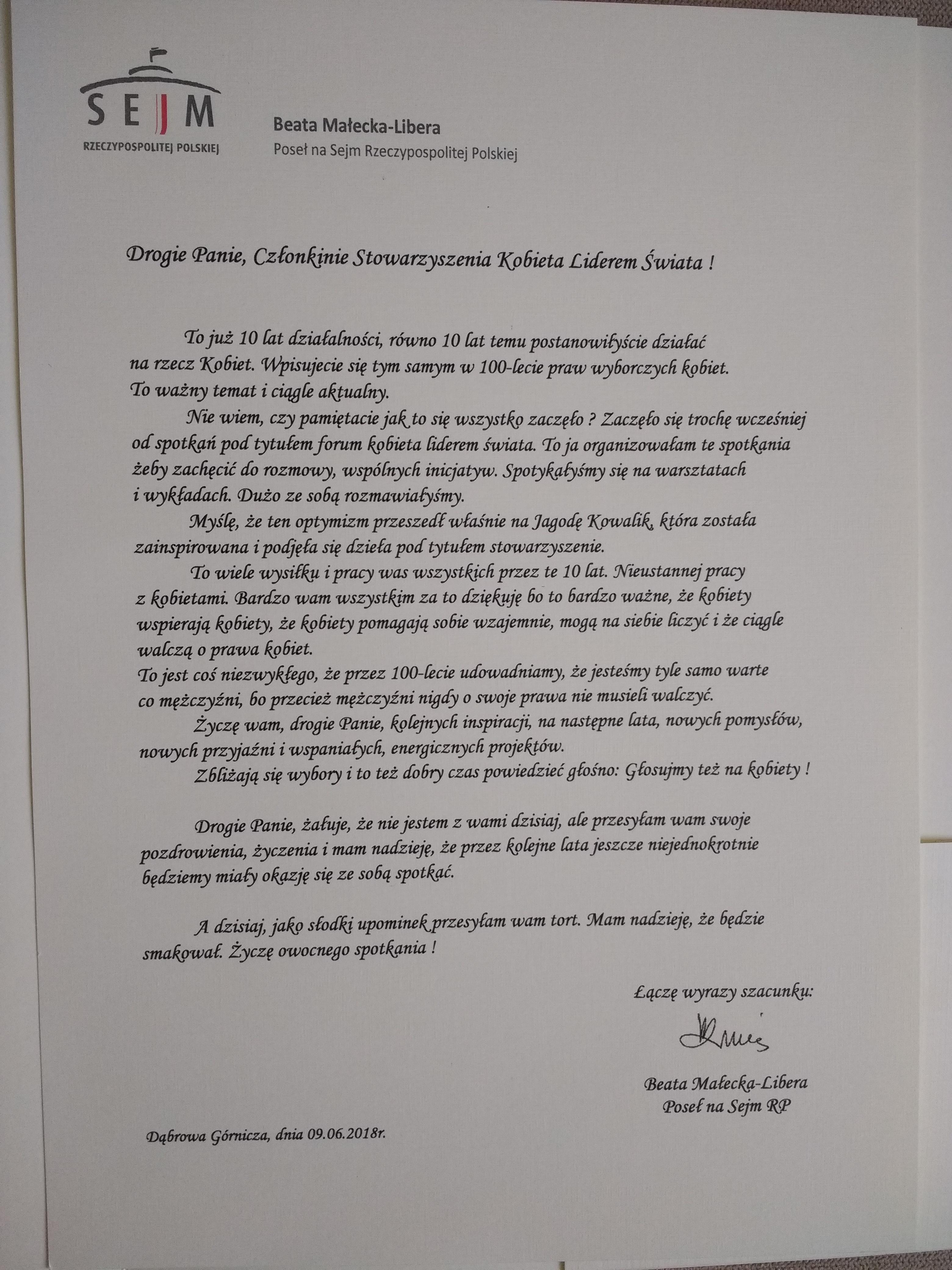 podziękowanie, uznanie, jubileusz, 10 lat, poseł RP, Beata Małecka - Libera
