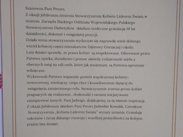podziękowanie, uznanie, jubileusz, 10 lat, Polskie Stowarzyszenie Diabetyków